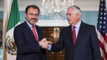 US Secretary of State Rex Tillerson (R) meets with Mexican Foreign Secretary Luis Videgaray Caso (L) at the State Department in Washington, DC, USA, Aug. 30, 2017. EPA-EFE/JIM LO SCALZO