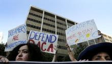 Protesters attend a rally in support of Deferred Action for Childhood Arrivals (DACA) at the Edward Roybal Federal Building in downtown Los Angeles, California, USA Sept. 1, 2017. EPA-EFE/PAUL BUCK