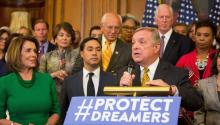 US Representative Dick Durbin from Illinois speaks at a press conference on deferred Action For Childhood Arrivals Program on Capitol Hill in Washington ,DC, USA, Sept. 6, 2017. EPA-EFE/TASOS KATOPODIS