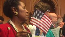 Photo provided on Sept. 7, 2017 showing Democratic Representative from Texas Sheila Jackson Lee, holding a picture of Mexican Alonso Guillen, in Washington, DC, United States on Sept. 6, 2017. EPA-EFE/Beatriz Pascual Macias