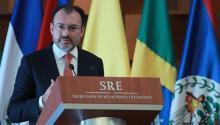 El canciller mexicano, Luis Videgaray durante una conferencia con los medios de comunicación. EFE/Archivo