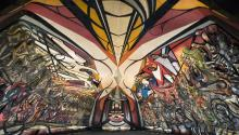 The murals in the Polyforum Cultural by famed Mexican painter David Alfaro Siqueiros, in Mexico City, Mexico. EPA-EFE/Mexico City Culture Secretariat