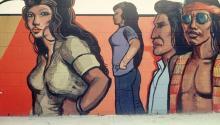 """Fotografía cedida por la Familia OíCadiz hoy, martes 12 de septiembre de 2017, de un detalle del mural de Fountain Valley de Sergio OíCadiz Moctezuma, parte de la exposición """"Pacific Standard Time: LA/LA"""", en Los Ángeles (EE.UU.). EFE/Familia OíCadiz"""