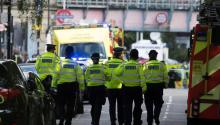Police and emergency services gather at 'Parsons Green' Underground Station in London, Britain, Sept. 15, 2017. EPA-EFE/WILL OLIVER