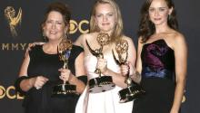 (L-R) Ann Dowd, Elisabeth Moss and Alexis Bledel, winners of the award for Outstanding Drama Series for 'The Handmaid's Tale,' pose in the press room during the 69th annual Primetime Emmy Awards ceremony held at the Microsoft Theater in Los Angeles, California, USA, 17 September 2017. EPA-EFE/NINA PROMMER