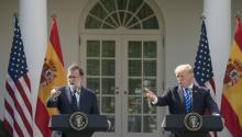 US President Donald J. Trump and Spanish Prime Minister Mariano Rajoy hold a joint press conference in the Rose Garden of the White House in Washington, DC, USA, Sept. 26, 2017. EPA-EFE/MICHAEL REYNOLDS