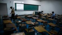 A classroom of the Central University of Venezuela (UCV), in Caracas, Venezuela on Sept. 22, 2017. EPA-EFE/Miguel Gutierrez