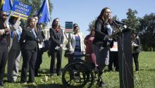 Democratic Senator from Illinois Tammy Duckworth (R) speaks at a rally for the Dream Act with a focus on women, families, and the LGBTQ community; on Capitol Hill in Washington, DC, USA, Oct. 3, 2017. EPA-EFE/MICHAEL REYNOLDS