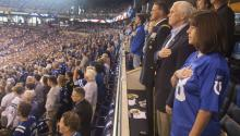 A photo made available by the Office of the Vice President shows US Vice President Mike Pence and his wife, Karen, standing during the national anthem before NFL contest by the San Francisco 49ers and the Indianapolis Colts at Lucas Oil Stadium in Indianapolis on Sunday, Oct. 8. EPA/Office of the Vice President.