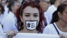 A girl wearing a selfmade mask reading 'Are we talking?' attend a demonstration called by platform 'Hablamos?' at Cibeles square in Madrid, Spain, 07 October 2017, to make a call for dialogue after the Catalan Independence Referendum held on 01 October. EPA-EFE FILE/Victor Lerena