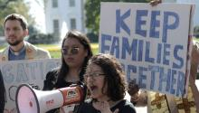 Students benefiting from the Deferred Action for Childhood Arrivals (DACA) hold signs in favor of the Dream Act during a protest called by the group United We Dream at Lafayette Park in front of the White House in Washington, Columbia, United States, Nov. 2, 2017. EPA-EFE/Lenin Nolly