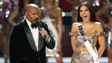 US comedian and show host Steve Harvey (L) asks a question of Miss Colombia Laura Gonzalez (R) during the 2017 Miss Universe pageant at The Axis at the Planet Hollywood Hotel and Casino in Las Vegas, Nevada, USA, Nov. 26, 2017. EPA-EFE/PAUL BUCK