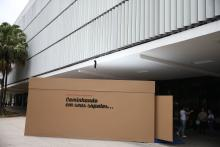 """Brazil's Empathy Museum.Photo provided on Dec. 12, 2017 shows a giant shoebox that holds the exhibit, """"A Mile in My Shoes,"""" outside the Empathy Museum, in Sao Paulo, Brazil on Dec. 1, 2017"""