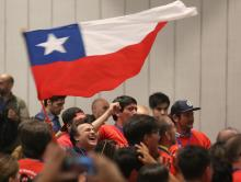 Supporters of former Chilean president and conservative candidate for the Chile Vamos coalition Sebastian Piñeraon Dec. 17, 2017.