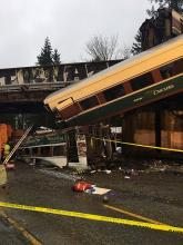 A photograph provided by the Washington State Patrol (WSP) showing the Amtrak 501 train that derailed and fell on Interstate 5 near Olympia, Washington, on Dec. 18, 2017