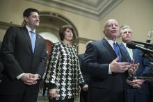 Speaker of the House Republican Paul Ryan (L) listens to Republican Representative from Texas and Chairman of the House Ways and Means Committee Kevin Brady (2-R) speak during a news conference, beside Republican Representative from Washington Cathy McMorris Rodgers (2-L) and House Majority Leader Republican Kevin McCarthy (R); after the House passed Republican-crafted tax legislation on Capitol Hill in Washington, DC, USA, 19 December 2017.