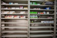 View of a medicine cabinet at a drugstore in Caracas, Venezuela on Apr. 14, 2016.