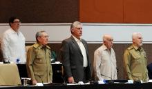 Cuban President Raul Castro (2L), First Vice President Miguel Diaz-Canel (C), Second Secretary of the Cuban Communist Party Jose Ramon Machado (2R), Vice President Ramiro Valdes (R), and Foreign Minister Bruno Rodriguez (L), attend a plenary session of the National Assembly of Popular Power in Havana, Cuba on Dec. 21, 2017.