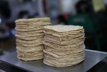 View of a stack of corn tortillas in Mexico City, Mexico on Nov. 23, 2016.