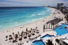 General view of a beach in the Caribbean resort city of Cancun, Mexico on Oct. 18, 2017.