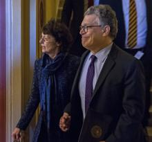 US Democratic Senator from Minnesota Al Franken (R) with his wife Frannni Bryson (L) walk to his car after his resignation speech on the Senate floor in the US Capitol in Washington DC, USA, Dec. 7, 2017.