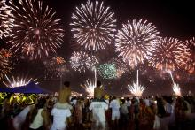 Revelers welcome the new year in Rio de Janeiro, Brazil, on Jan. 1, 2018.