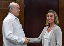 European Union High Representative for Foreign Affairs and Security Policy, Federica Mogherini (R) meets with the Cuban Minister of Foreign Trade and Investment Rodrigo Malmierca in Havana, Cuba, Jan. 3, 2018.