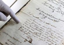 View of a document written in Guarani between the 17th and 18th centuries, presented at the National Archive in Asuncion, Paraguay on Mar. 3, 2016.