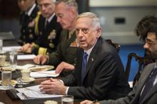 Secretary of Defense Jim Mattis (R) speaks during a meeting with South Korea's Defense Minister Song Young-moo (not pictured) in the Pentagon in Arlington, Virginia, USA, Aug. 30, 2017.