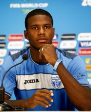 Honduran national soccer team defender Juan Carlos Garcia attends a press conference during the FIFA World Cup 2014 at the Arena Amazonia in Manaus, Brazil, June 24, 2014.