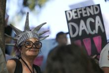 Immigrants-rights protesters demonstrate their support for the Deferred Action for Childhood Arrivals (DACA) program while marching in Los Angeles, California, USA, Sep. 10, 2017.