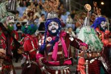 Artists perform during the opening parade of the Montevideo Carnival, known as the longest in the world due to its almost 40-day duration, in Montevideo, Uruguay, 25 January 2017.