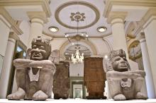 """Photo provided by Mexico's National Anthropology and History Institute (INAH) on Jan. 26, 2018 showing some of the pieces exhibited at the exposition """"Mexicas, Elegidos del Sol"""" (Mexicas, Chosen by the Sun) at the Canton Palace Regional Museum in Yucatan, Mexico, Jan. 25, 2018"""