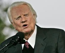 American evangelical Christian pastor Billy Graham speaks on the second night of the Greater New York Billy Graham Crusade, at Flushing Meadows Corona Park in Queens, New York, on June 25, 2005. Media reports state that Billy Graham died aged 99 on Feb. 21, 2018, at his home Montreat, North Carolina. EFE