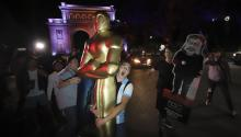 People celebrate Guillermo del Toro's triumph at the Oscars, in Guadalajara, Mexico, Mar. 5, 2018. EPA-EFE/Carlos Zepeda