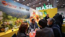 Visitors have a meeting with a exhibitor showcasing health supplements at the Brazilian pavilion during the 43rd International Food and Beverage Exhibition (FOODEX JAPAN 2017) at Makuhari Messe Convention Center in Chiba, east of Tokyo, Japan, Mar. 6, 2018. EPA-EFE/CHRISTOPHER JUE