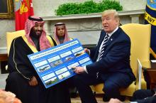 President Donald Trump holds up a chart of military hardware sales as he meets with Crown Prince Mohammed bin Salman of the Kingdom of Saudi Arabia in the Oval Office at the White House, March 20, 2018. EPA-EFE/KEVIN DIETSCH / POOL