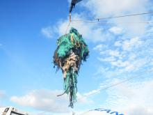 An undated handout photo made available by The Ocean Cleanup on Mar. 23, 2018 shows abandoned nets and other plastic garbage being pulled out of the ocean at the Great Pacific Garbage Patch (GPGP), located halfway between Hawaii and California, USA. EPA-EFE/THE OCEAN CLEANUP HANDOUT