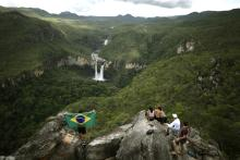 Photo provided on March 23, 2018, showing tourists at Chapada dos Veadeiros National Park, near Sao Jorge, Brazil, March 16, 2018. EPA-EFE/Joedson Alves
