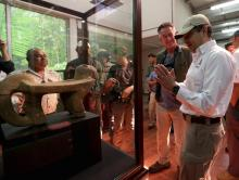 Photo provided on Mar. 25, 2018 by the Honduran Presidency showing President Juan Orlando Hernandez during the grand opening of a center for the study of artifacts found at the White City archaeological site in the Mosquitia region in Honduras, Mar. 23, 2018. EPA-EFE/Presidency of Honduras