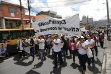 Photo provided by the group #NOS FALTAN 3 shows a demonstration calling for the release of three journalists kidnapped on the Ecuador-Colombia border, in Quito, Ecuador, April 1, 2018. EPA-EFE FILE/#NOS FALTAN 3