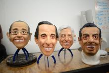 Photo provided on April 4, 2018, showing masks made with latex and painted by hand imitating the faces of the Mexican presidential candidates at Grupo REV headquarters in Cuernavaca, Mexico, April 1, 2018. EPA-EFE/Tony Rivera