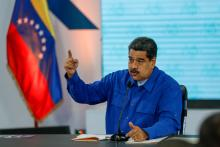 Venezuelan President Nicolas Maduro holds a press conference on April 30, 2018, in Caracas to announce hikes in the pay and food allowances. EFE-EPA/Cristian Hernandez