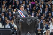 The President-elect Carlos Alvarado participate in the investiture ceremony, in the Plaza de la Democracia, in San Jose, Costa Rica, May 8, 2018. EPA-EFE/Alexander Otárola