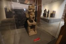 "Photograph showing a Pre-Columbian artifact on display at the ""Ancient Mexico, Glances from the South"" exhibit in Montevideo, Uruguay, May 9, 2018. EPA-EFE/Federico Anfitti"