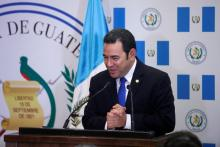 Guatemalan President Jimmy Morales gestures as he speaks during the dedication ceremony of the embassy of Guatemala in Jerusalem, May 16, 2018. EFE