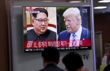 South Koreans watch a TV news broadcast showing US President Donald J. Trump (R) and North Korean leader Kim Jong-Un (L), at Seoul Station in Seoul, South Korea, May 24, 2018. EPA-EFE/JEON HEON-KYUN