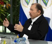 Nicaraguan President, Daniel Ortega, speaks during a press conference with EFE news agency in Managua, Nicaragua, Sept. 4, 2018. EFE/Jorge Torres