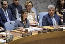 Photo provided by the United Nations showing Security Council rotating president and US Ambassador Nikki Haley (center left) speaking during a Council session discussing Nicaragua on Sept. 5, 2018. EFE-EPA/Manuel Elias/UN