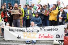 Colombians in exile protest against visit of Colombian President Ivan Duque Marquez to the European institution in Brussels, Belgium, Oct. 24, 2018. EPA-EFE/OLIVIER HOSLET